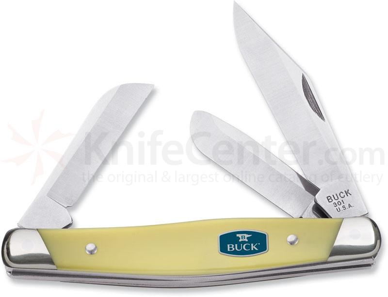 Buck 301 Stockman 3-7/8 inch Closed, ComfortCraft, Yellow Delrin Handles