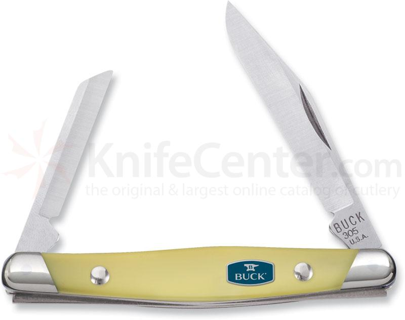 Buck Lancer 2-5/8 inch Closed, ComfortCraft, Yellow Delrin Handles
