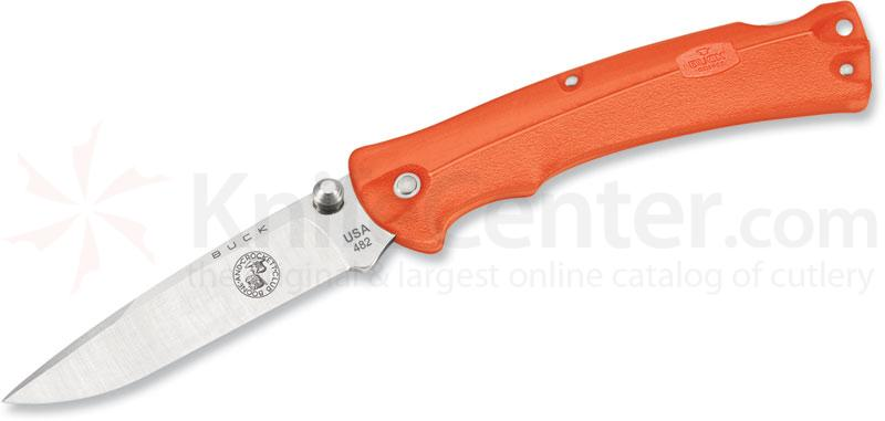 Buck 482 BuckLite MAX Medium Folding Knife 3 inch Plain Blade, Boone & Crockett, Orange Handles