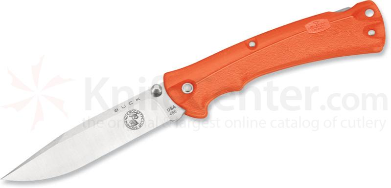 Buck Folding Bucklite MAX Large 3-5/8 inch Plain Blade, Boone & Crockett, Orange Handles