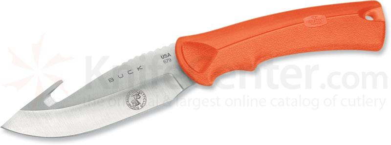 Buck BuckLite MAX Hunting Knife 4 inch Blade with Gut Hook, Boone and Crockett, Orange Rubber Handles
