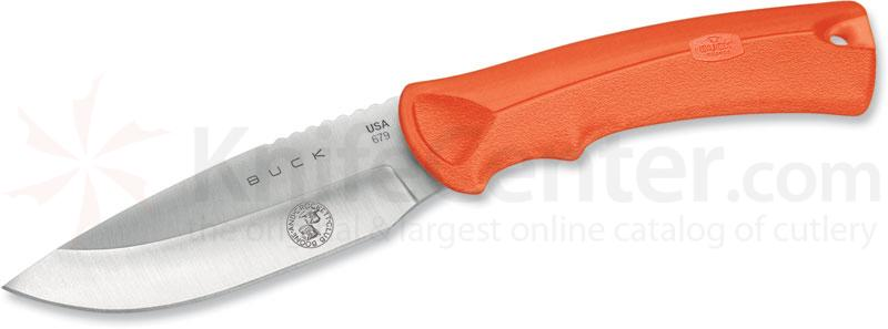 Buck BuckLite MAX Hunting Knife 4 inch Blade, Boone and Crockett, Orange Rubber Handles