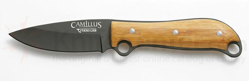 Camillus 8 inch Carbonitride Titanium Fixed Blade Knife with Bamboo Handles