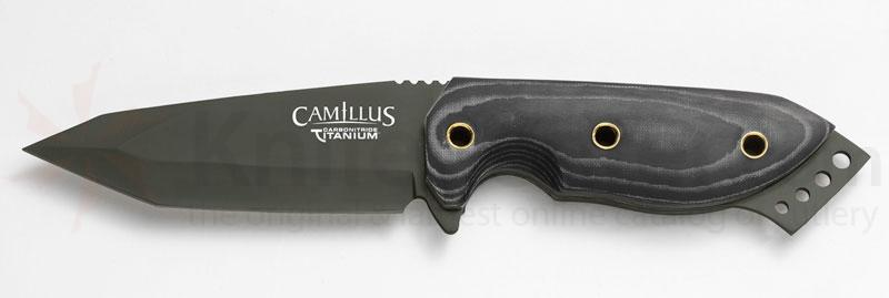 Camillus 7.75 inch Carbonitride Titanium Fixed Blade Knife with Micarta Handles