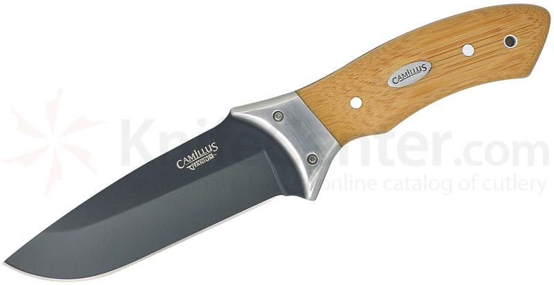 Camillus 9.25 inch Carbonitride Titanium Fixed Blade, Bamboo Handle, Nylon Sheath