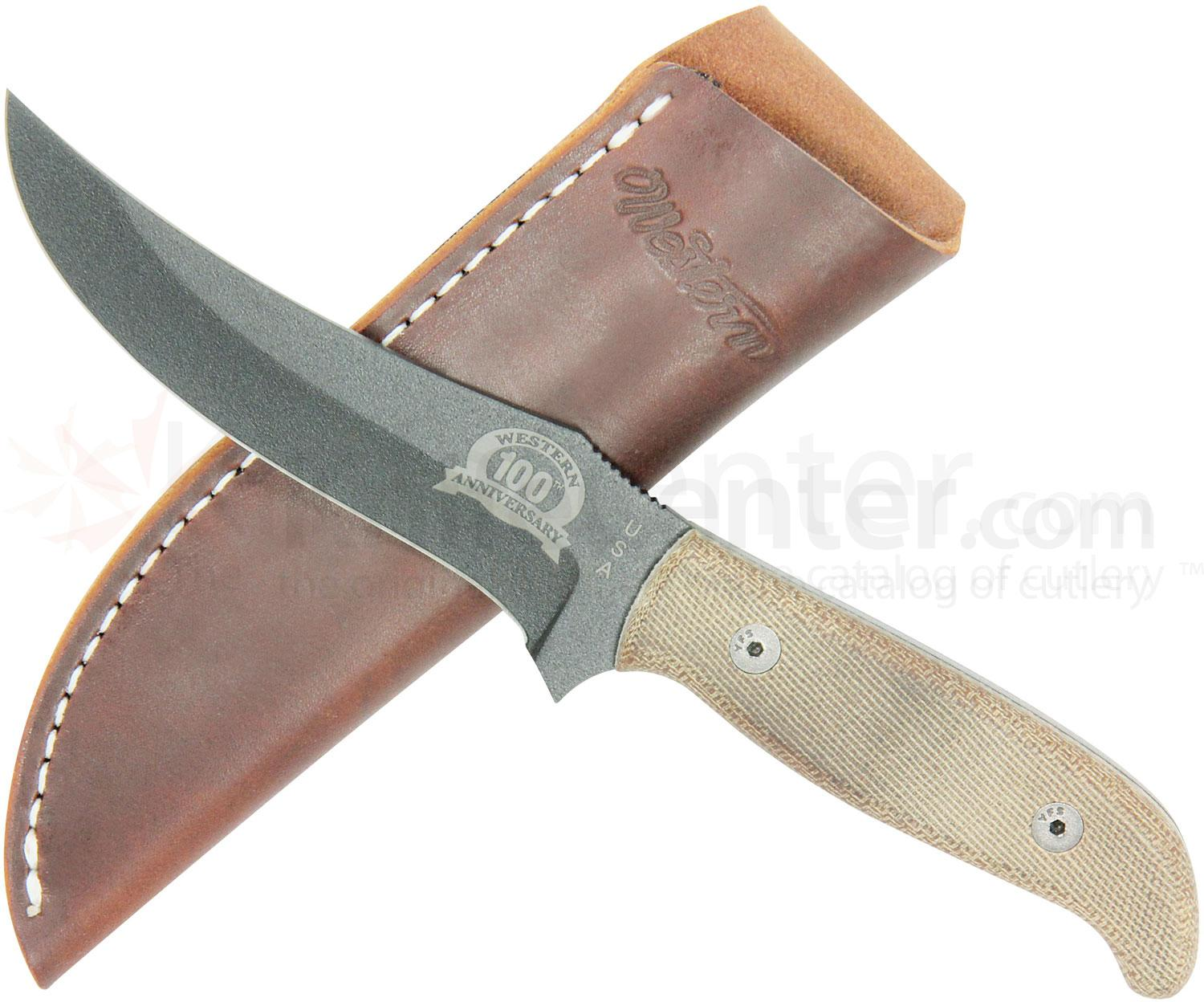 Camillus Western USA 100th Anniversary Skinner Fixed 4.75 inch 1095 Carbon Blade, Micarta Handle, Leather Sheath