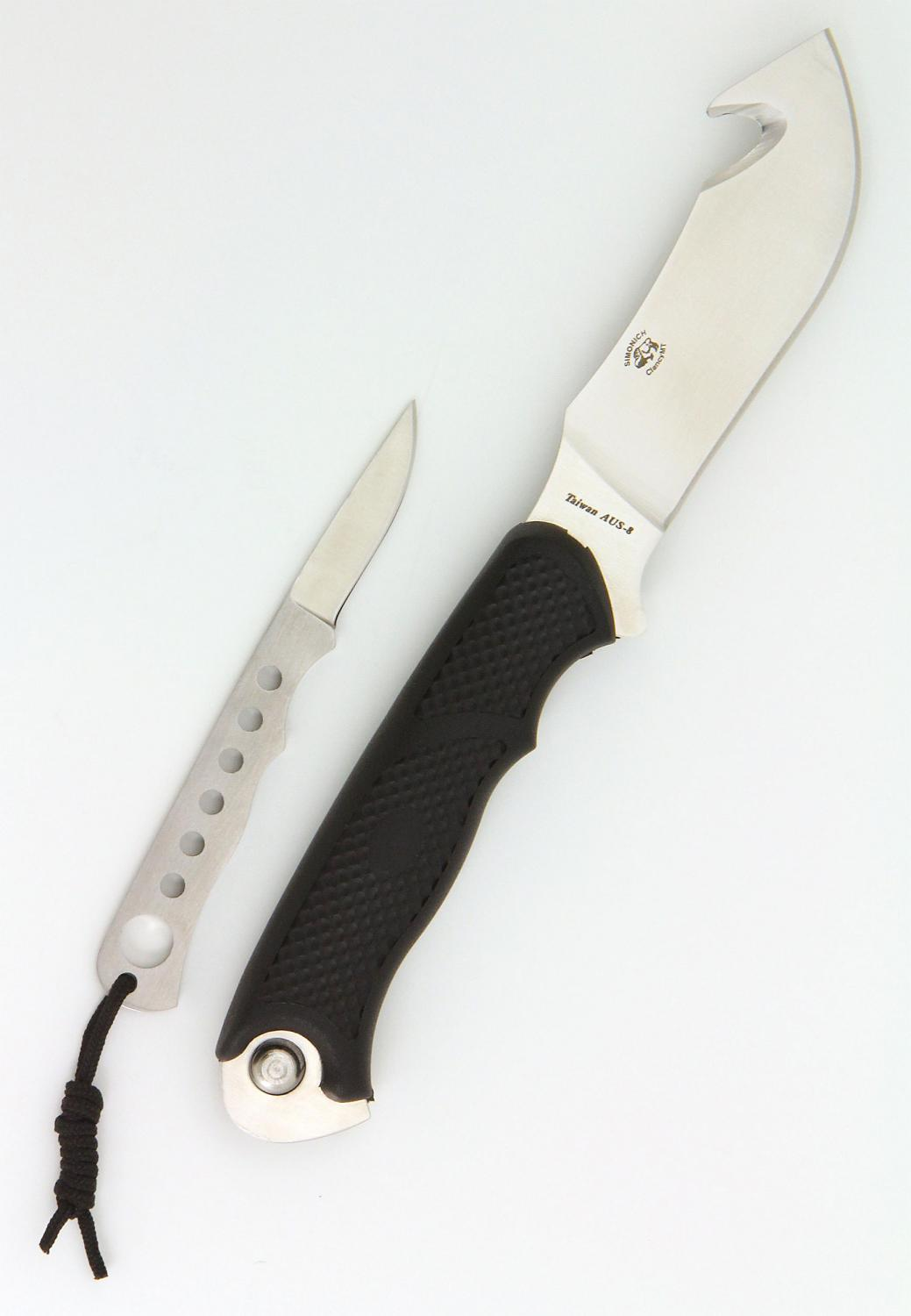Camillus Parasite Fixed 4.25 inch Guthook Blade with Detachable Trimming Blade, Nylon Sheath