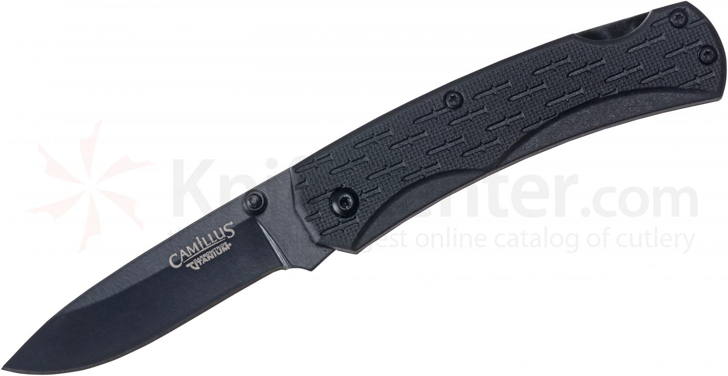 Camillus CamLite Folding 2.75 inch Titanium Bonded 440 Stainless Blade, Black GRN Handles