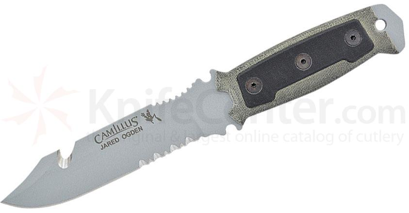 Camillus Jared Ogden Designed SKOL Fixed 5.5 inch Gray Blade, Canvas Green Micarta Handles with G10 Inlays, Molded Sheath