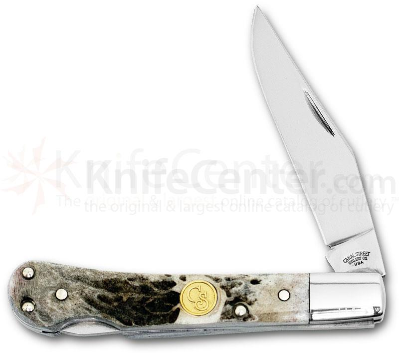 Canal Street Cutlery Trophy Series  inchPinch inch Lockback, White Tail Handles, 3-3/4 inch Closed