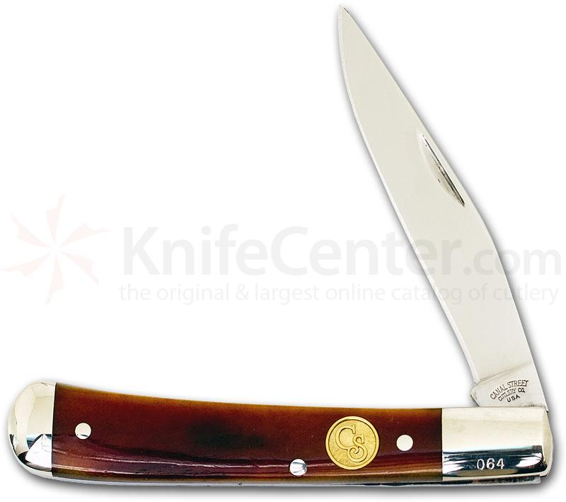 Canal Street Cutlery 3-3/4 inch Single Blade Half Moon Trapper, Smooth Sunset Bone Handles