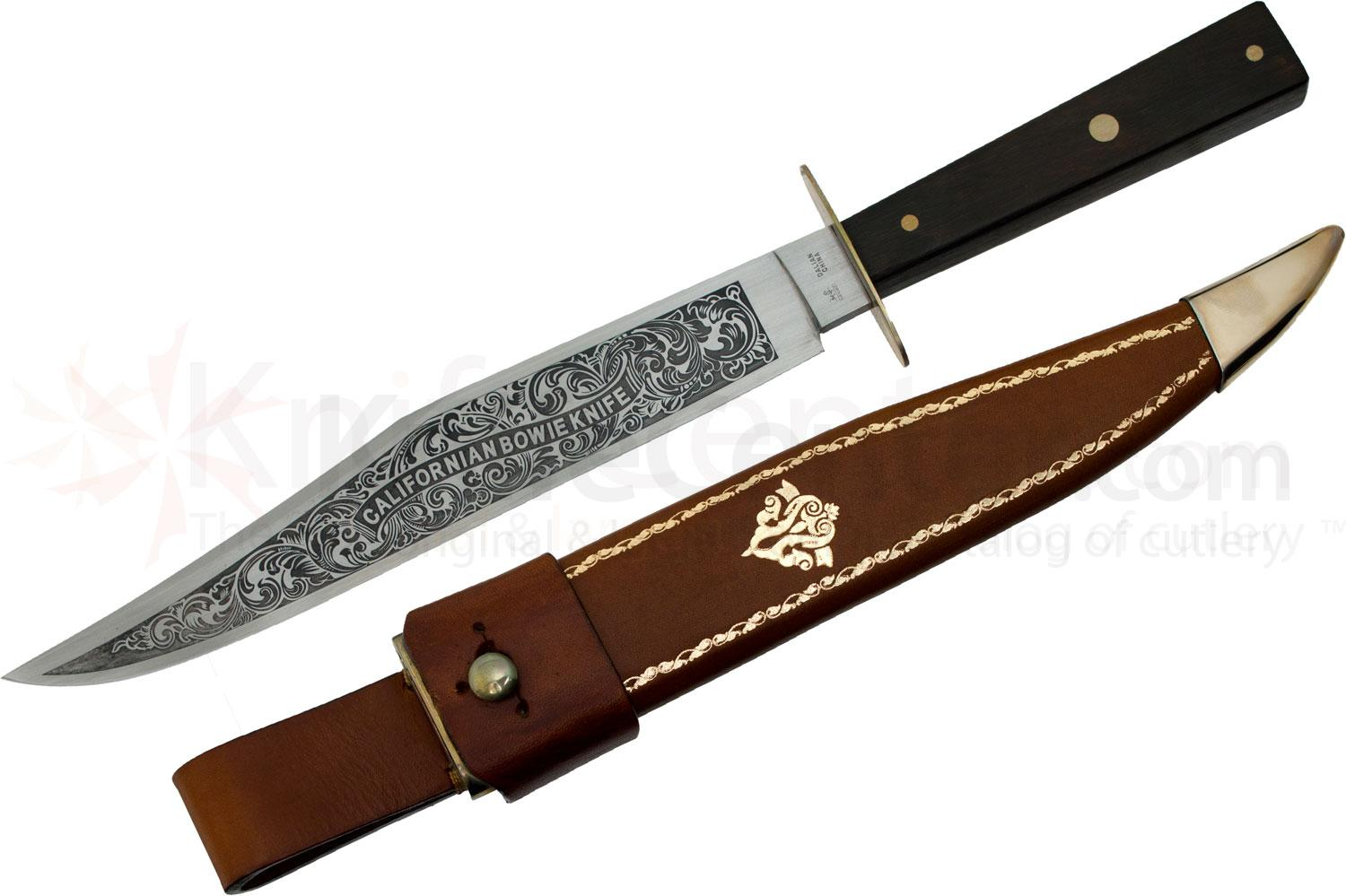 CAS Iberia Hanwei California Bowie Knife 8-5/8 inch Carbon Steel Blade, Hardwood Handle, Leather Sheath