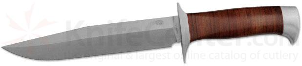 Rock Creek Knives Eland Utility/Survival Knife 6-3/4 inch Blade, Stacked Leather Handle