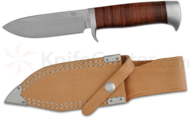 Rock Creek Knives Nyala Utility/Survival Knife 4-1/2 inch Blade, Stacked Leather Handle