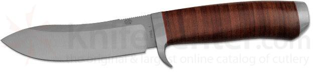 Rock Creek Knives Kudu Hunting Knife 4-1/2 inch Blade, Stacked Leather Handle