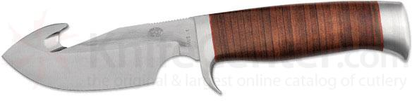 Rock Creek Knives Waterbuck Skinner Knife 4 inch Blade with Gut Hook, Stacked Leather Handle