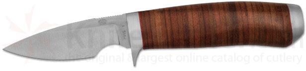Rock Creek Knives Steenbok Caper Knife 3 inch Blade, Stacked Leather Handle