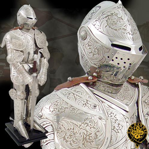 Knight In Embossed Armour Miniature Beautifully Ornate Embossed