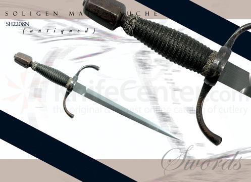 Solingen Main Gauche (Antiqued) Forged High-Carbon Steel Leather Scabbards