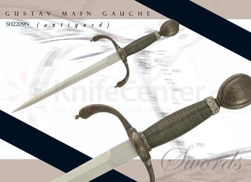 Gustav Main Gauche (Antiqued) Forged High-Carbon Spring Steel Blades Leather Scabbards