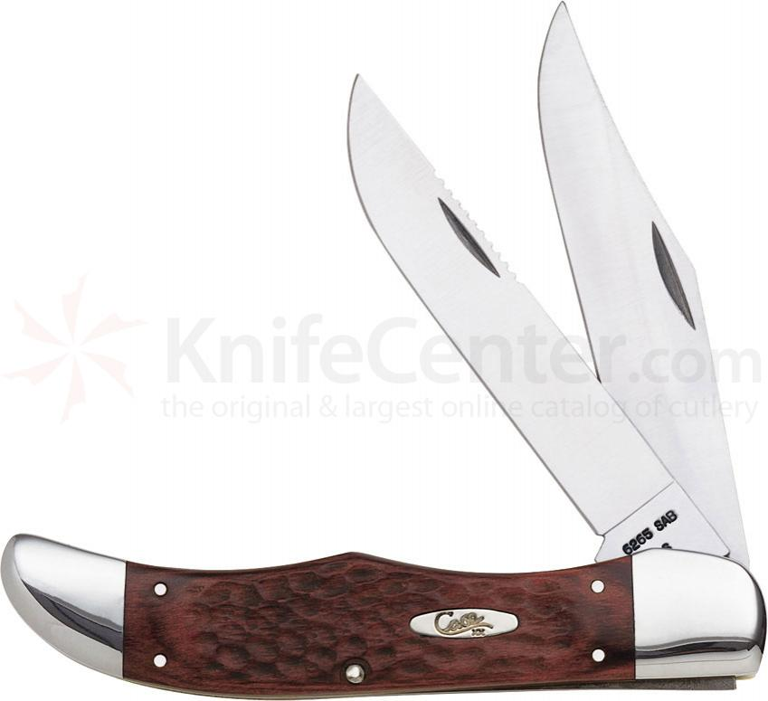 Case 189 Folding Hunter 5.25 inch Jigged Brown Staminawood Handles, Brown Leather Sheath (6265 SS)