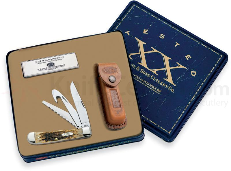Case Hunter Trapper with Gut Hook Gift Set 4-1/8 inch Closed (6354GS SS with Sheath and Sharpener)