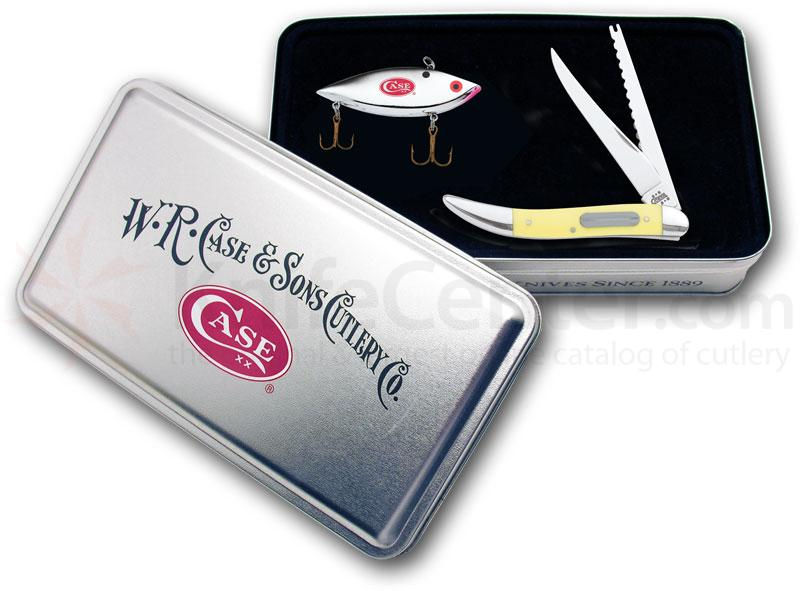 Case Yellow Synthetic Fishing Knife 4-1/4 inch Closed Gift Set Collector's Tin (320094F SS)