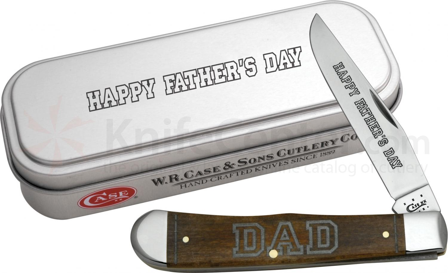 Case Father's Day Smooth Brown Bone Trapper in Gift Tin 4-1/8 inch Closed (6154 SS)