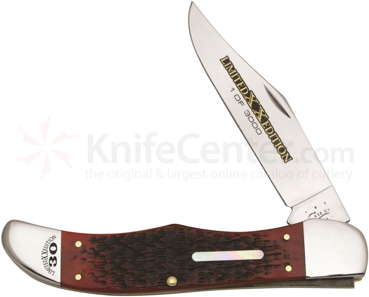 Case XX Limited Edition Brick Red Bone Folding Hunter 5-1/4 inch Closed (6165 SS)
