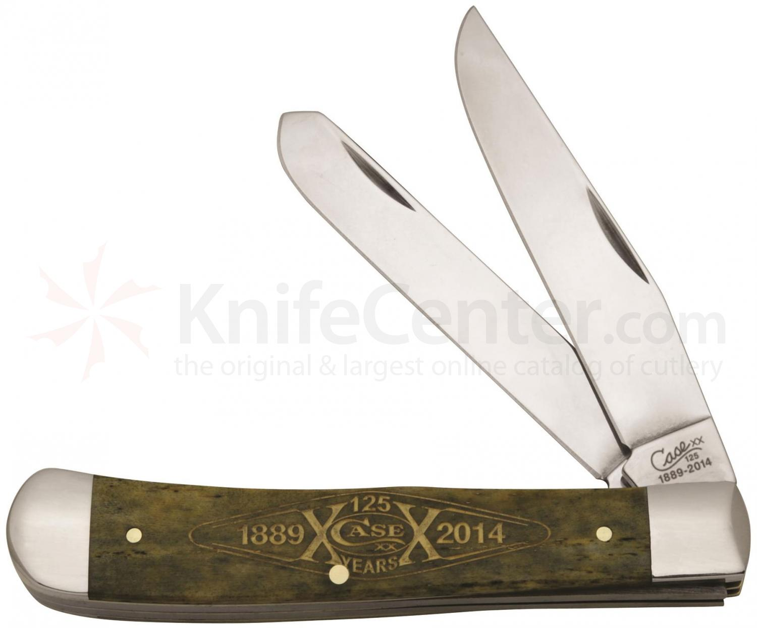 Case 125th Anniversary Smooth Olive Green Bone Trapper 4-1/8 inch Closed (6254 SS)