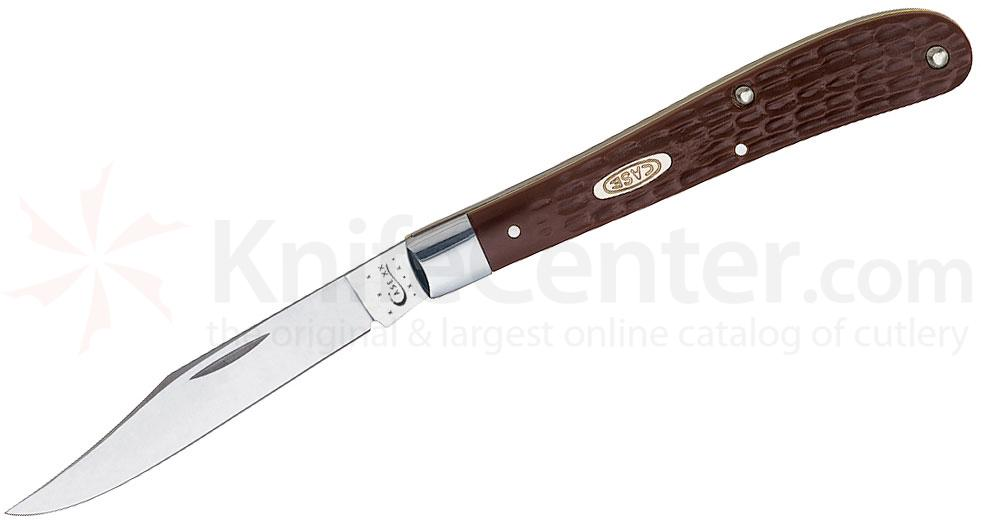 Case 135 Slimline Trapper Work Knife 4-1/8 inch Jigged Brown Synthetic Handle (61048 SS)