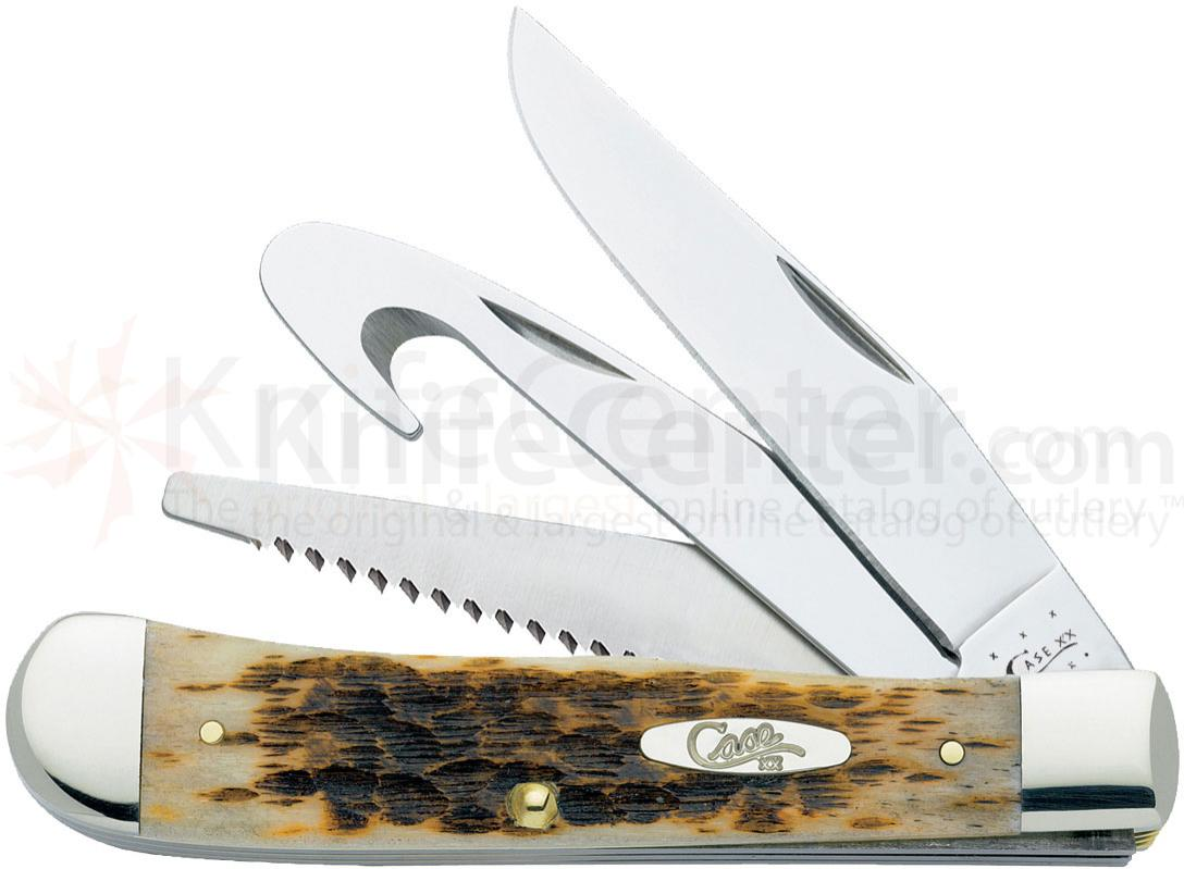 Case Amber Bone Trapper Hunter 4-1/8 inch Closed (6354GS SS)