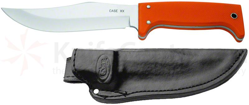 Case Outdoor Hunting Utility Knife Fixed 6 inch Blade, Orange G10 Handles, Leather Sheath (772-6 SS)