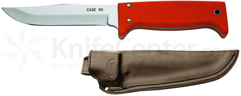 Case Outdoor Hunting Utility Knife Fixed 5 inch Blade, Orange G10 Handles, Leather Sheath (765-5 SS)