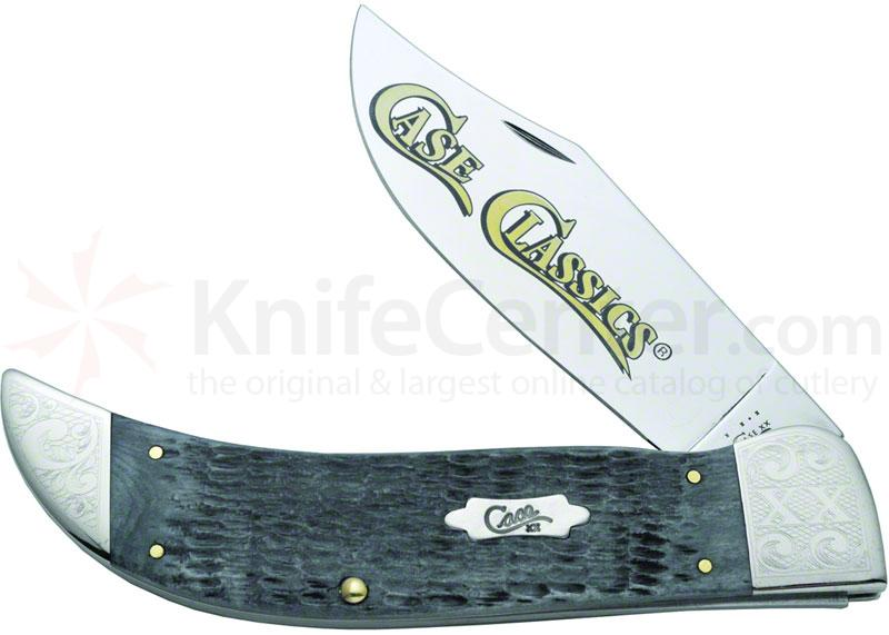 Case Classics Rogers Jigged Gray Bone Clasp 5-1/2 inch Closed (6172 SS), Etched Bolsters