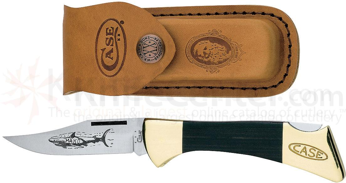 Case Black Synthetic Mako Lockback 4-1/4 inch Closed (P158L SS), Leather Sheath