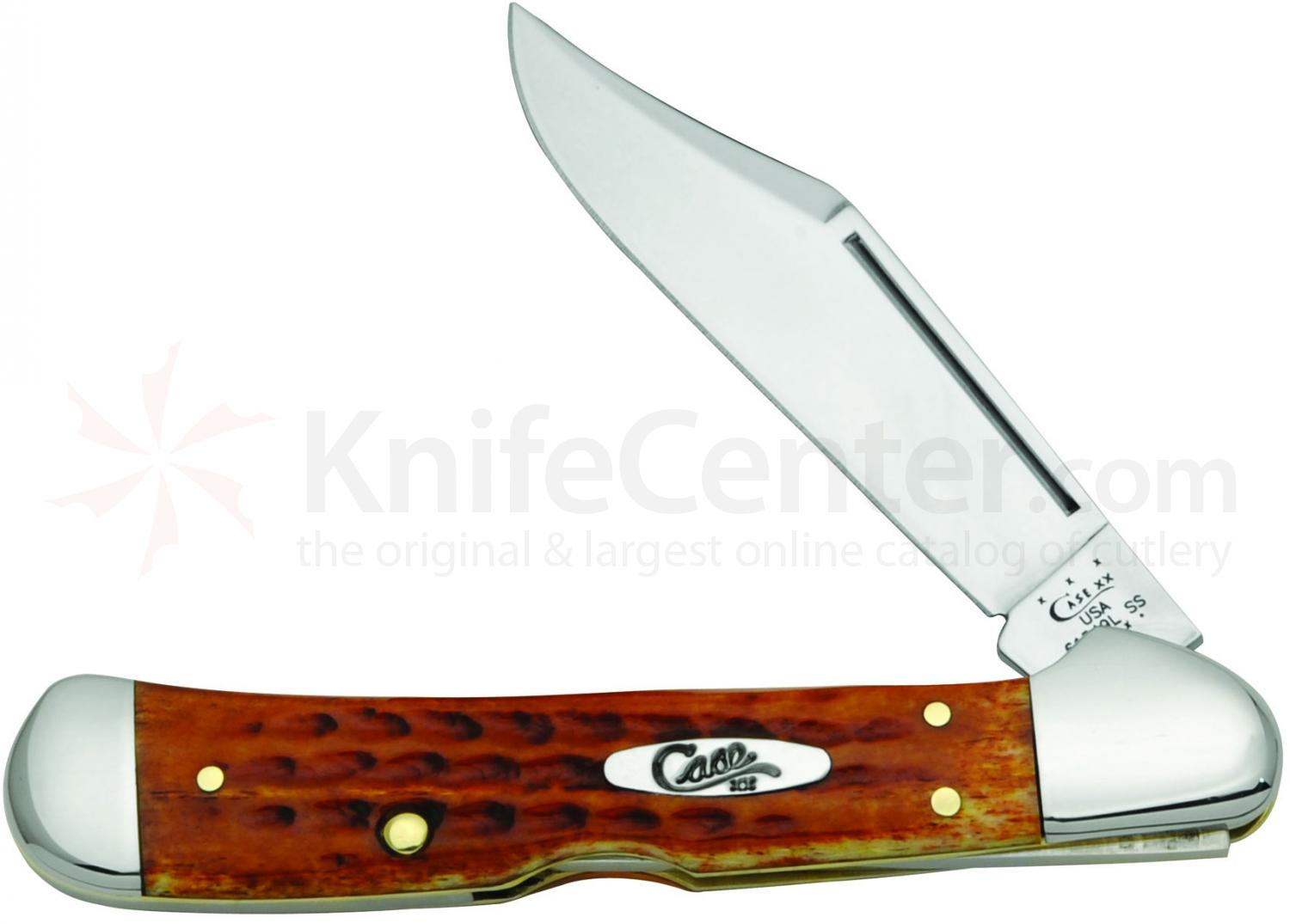 Case Pocket Worn Harvest Orange Bone CopperLock 4-1/4 inch Closed (61549L SS)