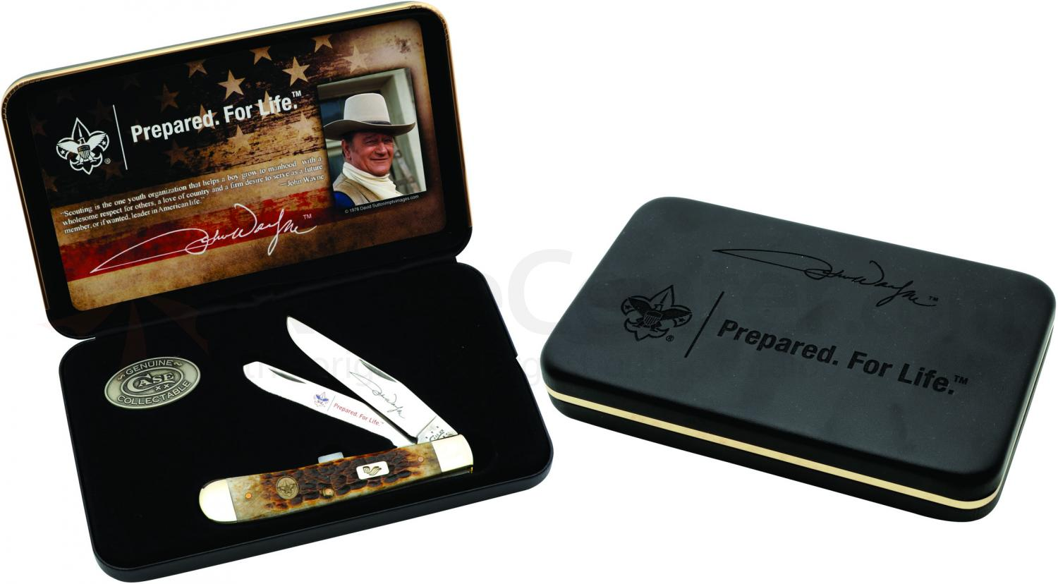Case John Wayne Jigged Bone Trapper, Gift Box, 4-1/8 inch Closed (6254 SS)