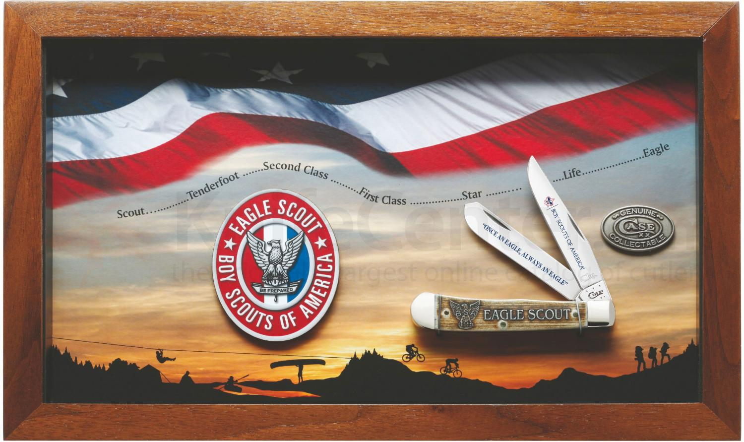 Case Boy Scouts Of America Jigged Dark Red Bone Eagle Scout Commemorative Trer With Display