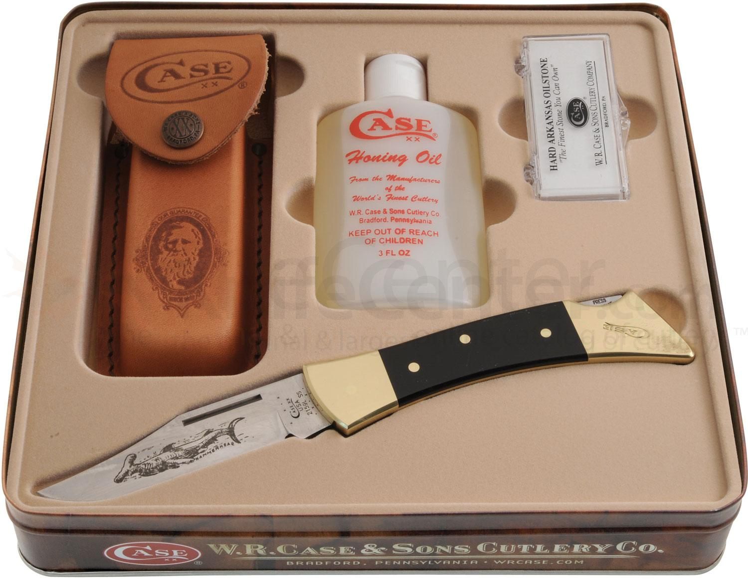 Case Black Synthetic Hammerhead Gift Set 5 inch Closed (2159L SS) with Stone and Honing Oil