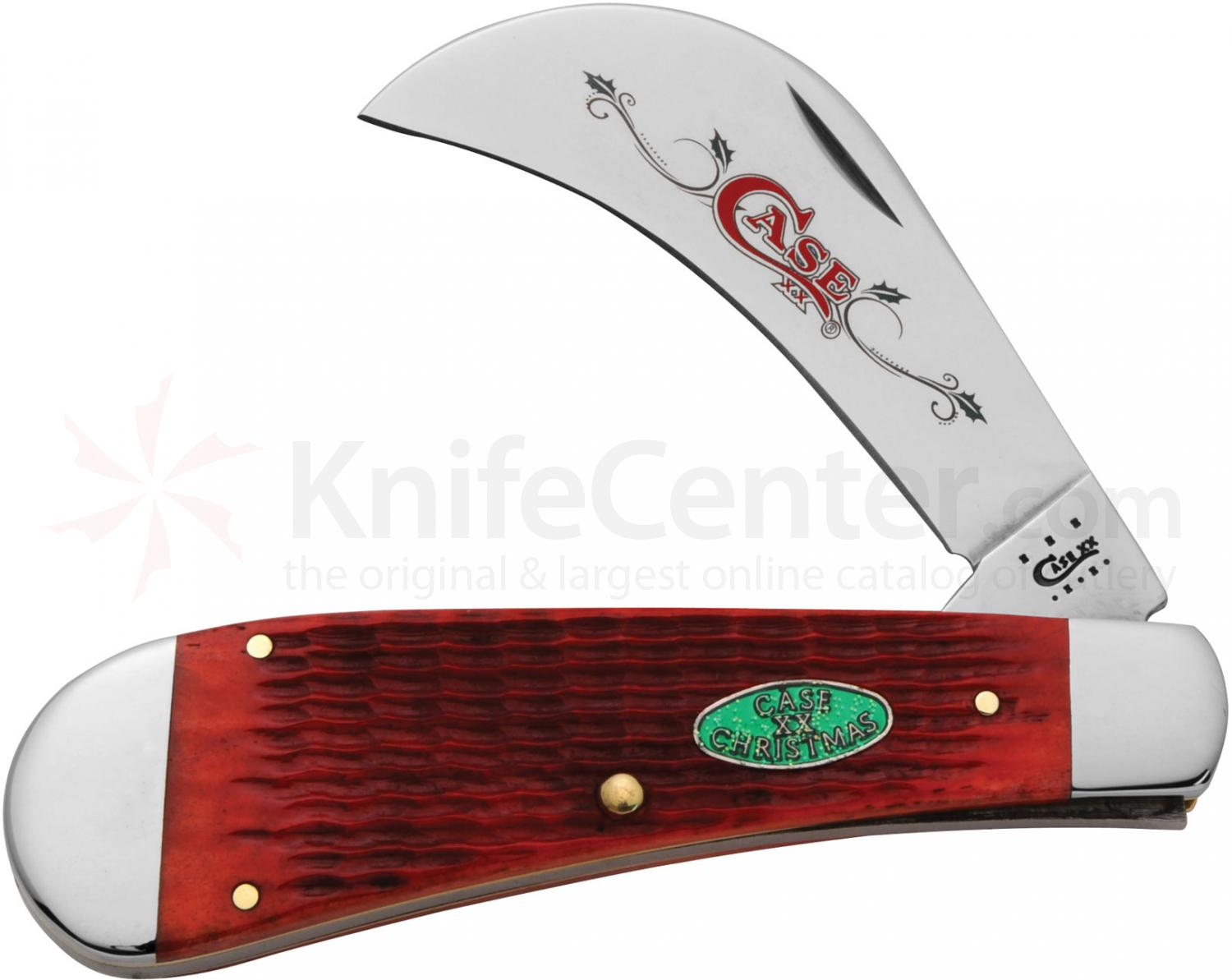Case XX Christmas Shield Dark Red Jigged Bone Hawkbill Pruner 4 inch Closed (61011 SS)
