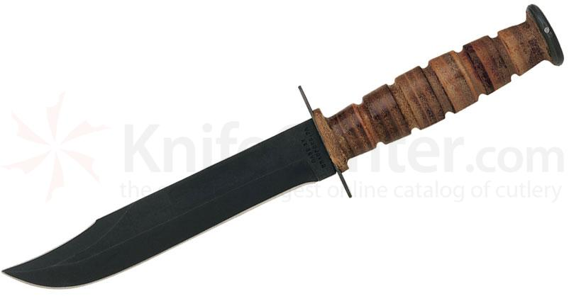 Case USMC Fixed Presentation Knife 7 inch Black Bowie Blade, Grooved Leather Handle, Brown Leather Sheath