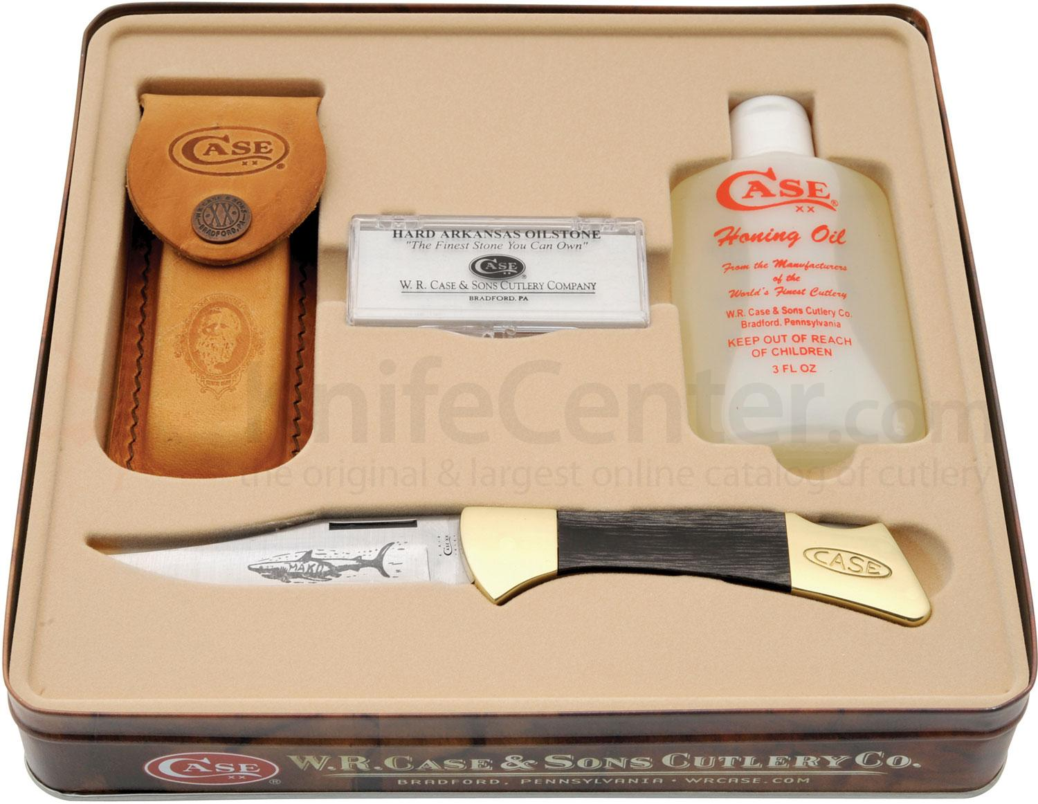 Case Black Synthetic Mako Gift Set 4-1/4 inch Closed (P158L SS) with Stone and Honing Oil