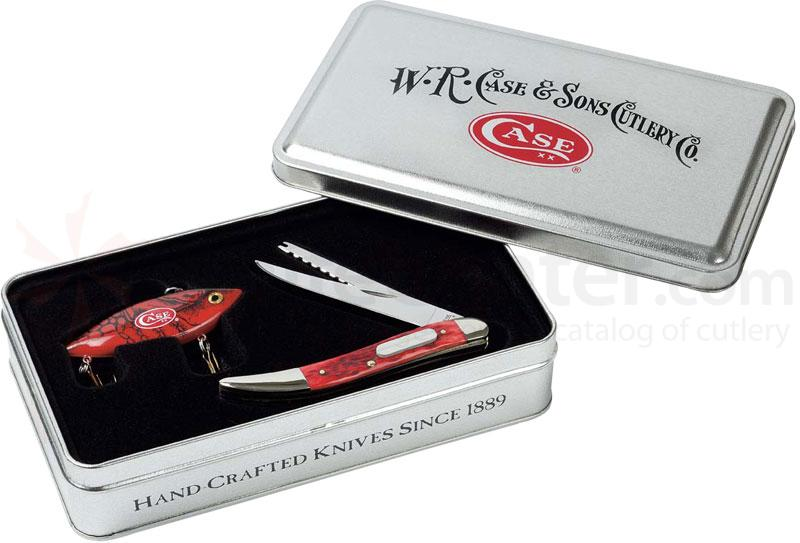 Case Red Bone Fishing Knife 4-1/4 inch Closed Gift Set Collector's Tin (610096 SS)