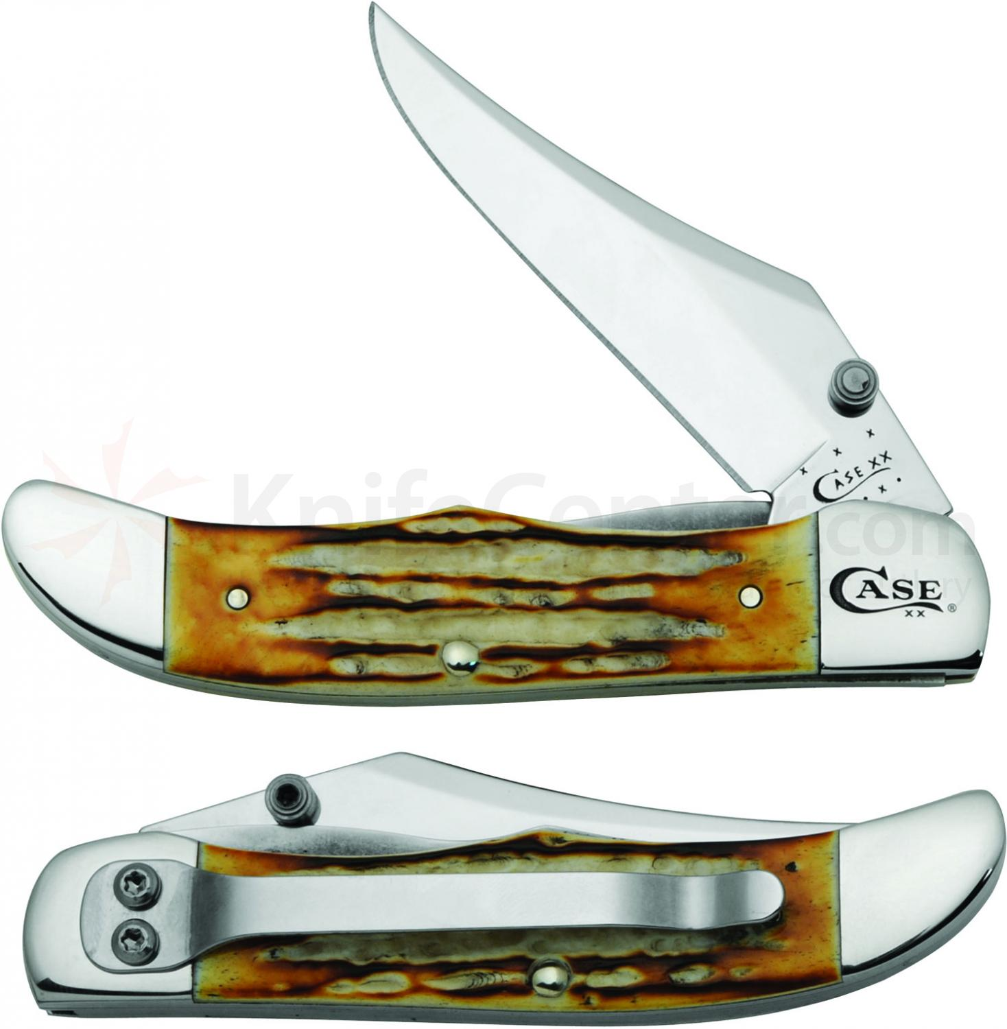 Case Deep Canyon Jigged Burnt Natural Bone Mid-Folding Hunter w/ Clip 4-1/8 inch Closed (61265lC SS)