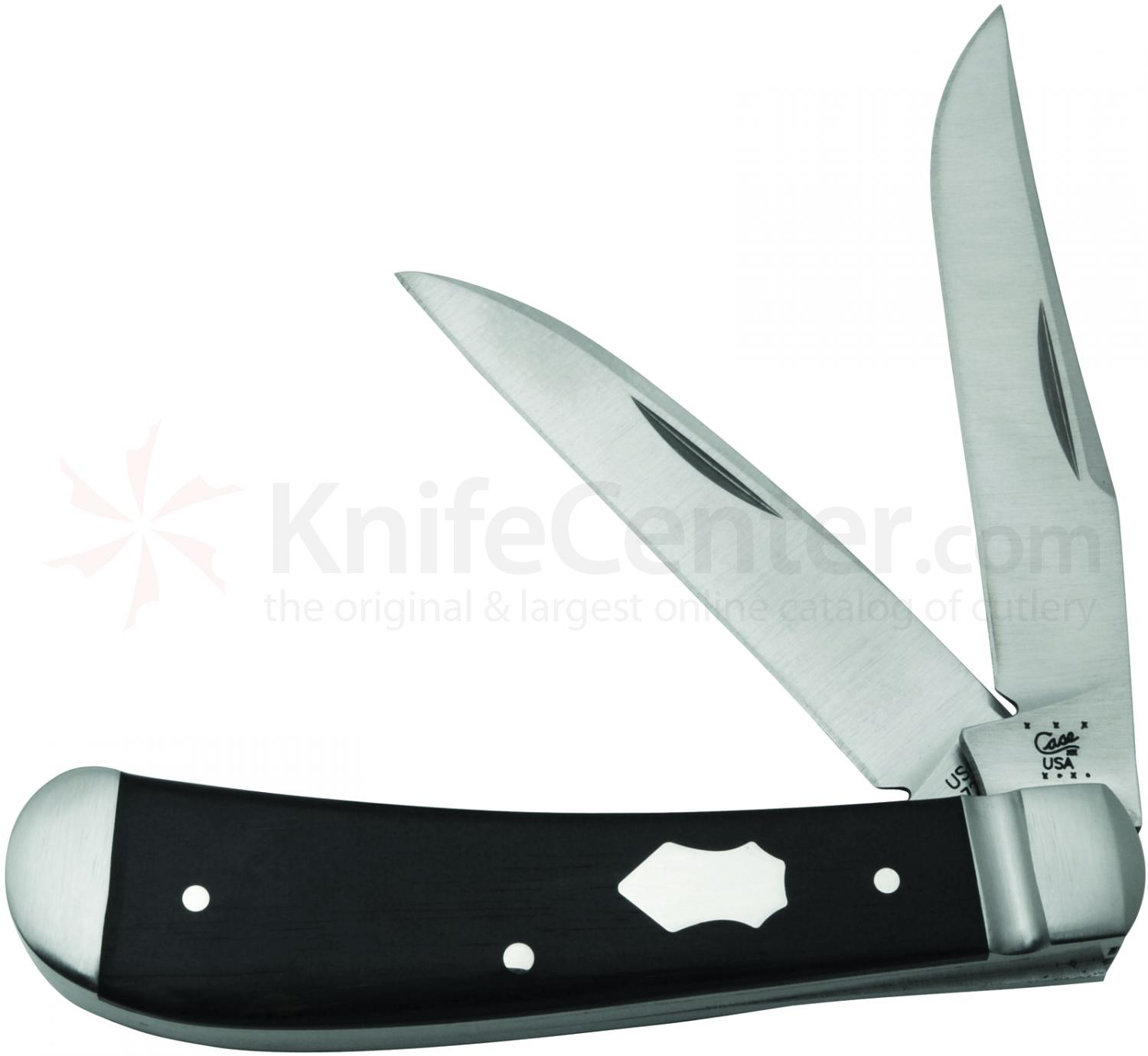 Case Tony Bose Smooth Ebony Wood Wharncliffe Trapper 3-5/8 inch Closed (TB722013 154-CM)