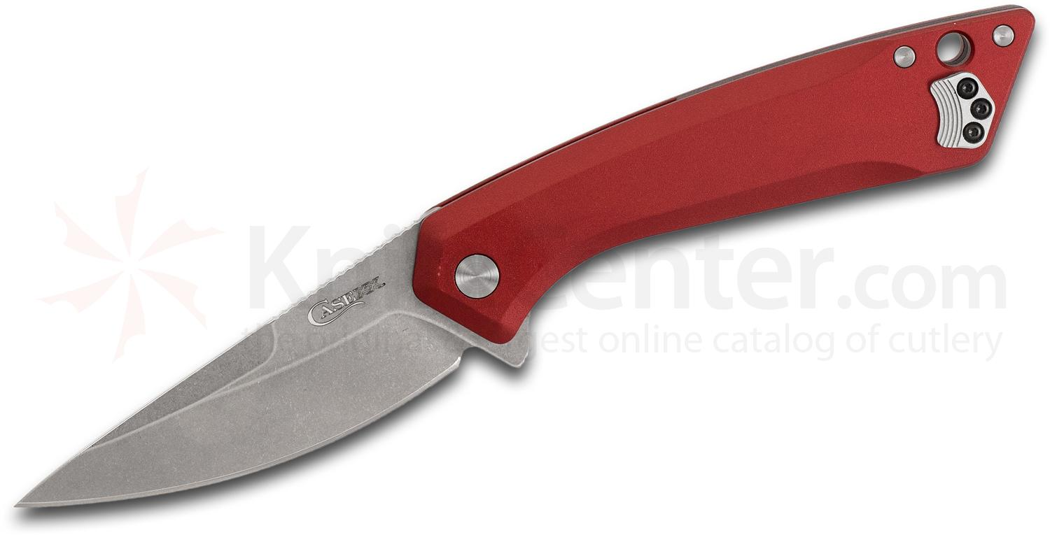 Case Southern Grinds CG01 Flipper Knife 3.40 inch Stonewashed S35VN Drop Point Blade, Red Aluminum Handles
