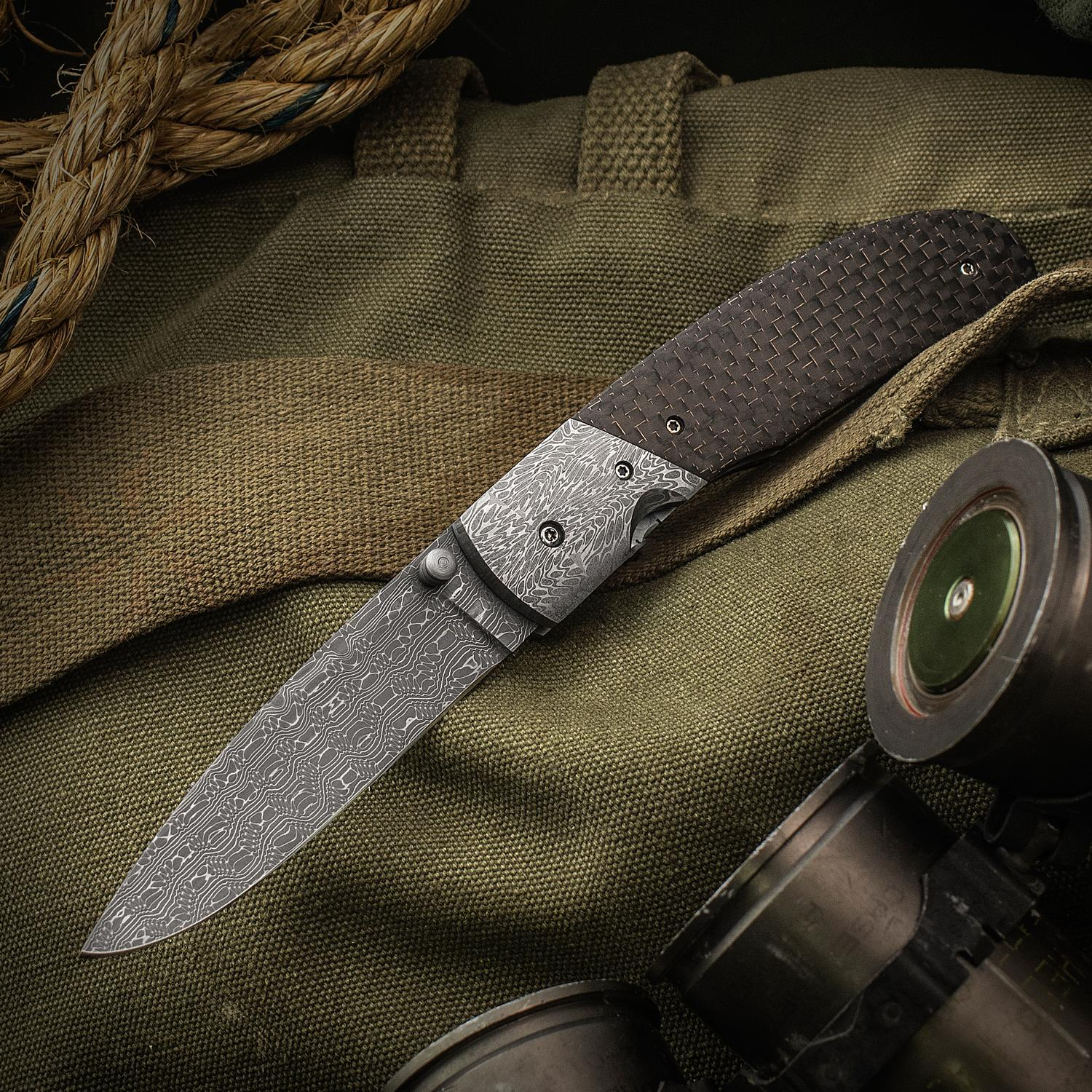 Robert Champion Custom Texas Wind Folding Knife 3.25 inch Nichols Reptilian Damascus Blade, Carbon Fiber Handles with Eggerling Damascus Bolsters