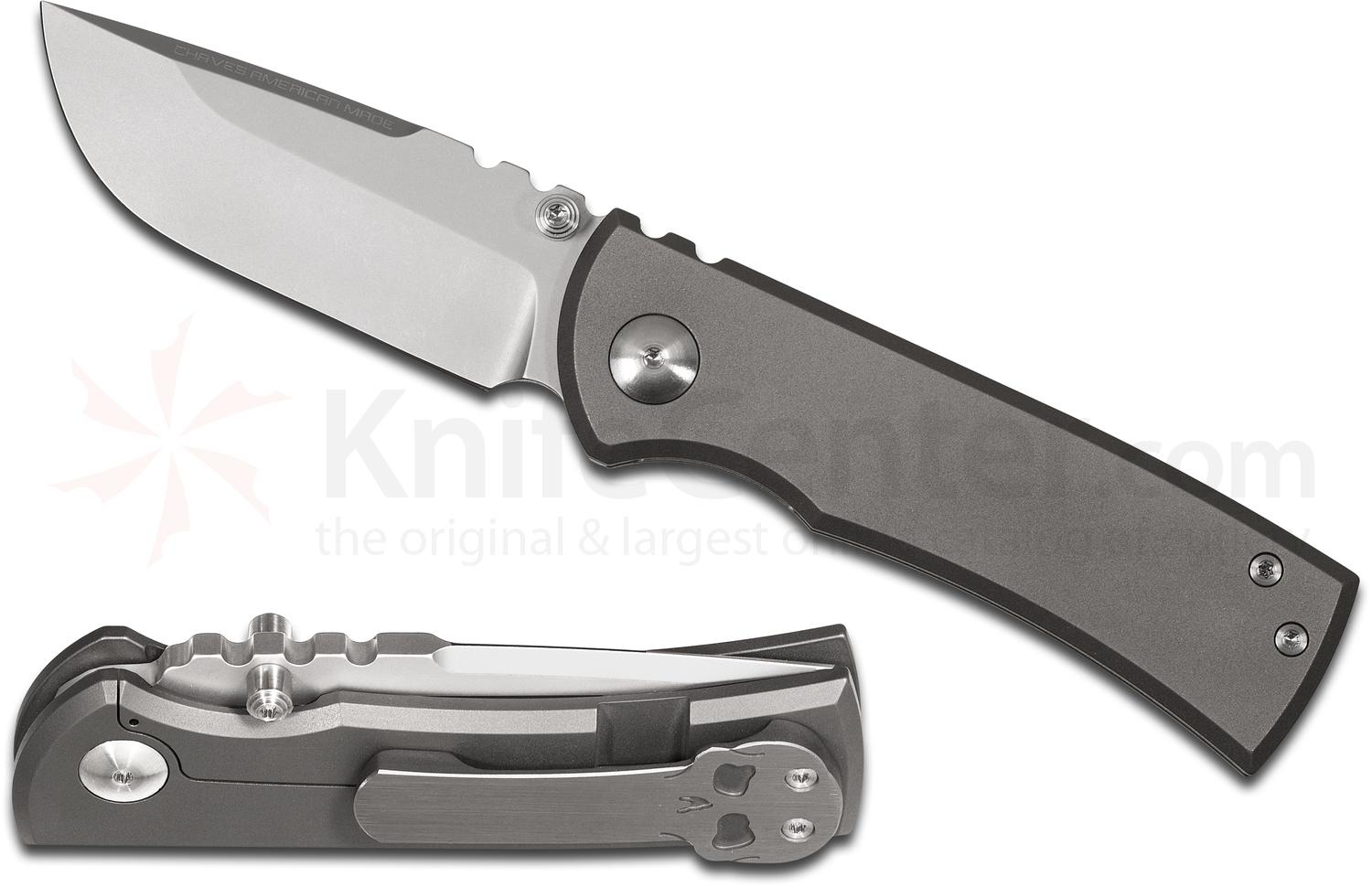 Chaves American Made Redencion 228 Folding Knife 3.3 inch S35VN Bead Blasted Drop Point Blade, Milled Titanium Handles