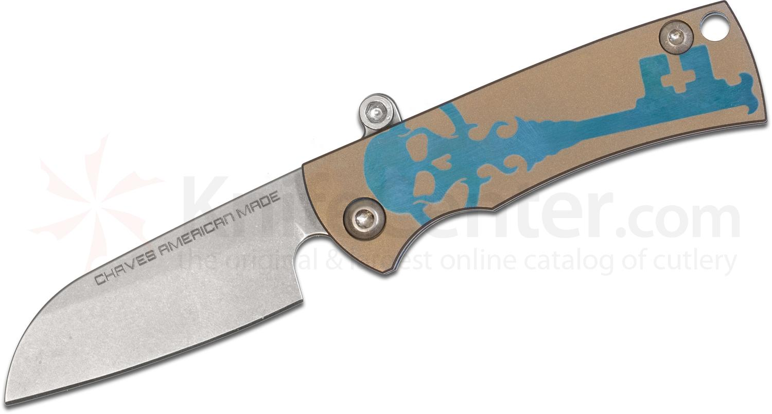 Chaves American Made Redencion Friction Folding Knife 2.25 inch S35VN Sheepsfoot Blade, Bronze and Teal Titanium Handles